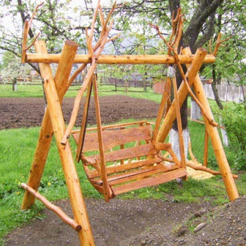 Деревянная качель садовая своими руками 31