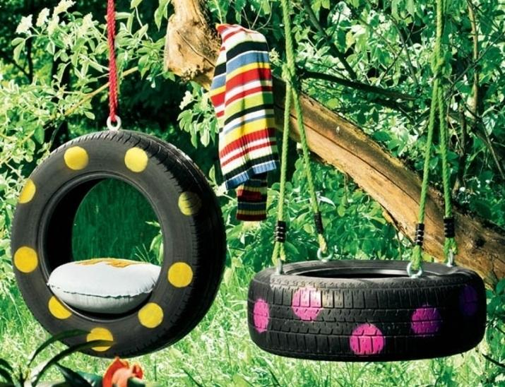 Садові гойдалки з автомобільних шин