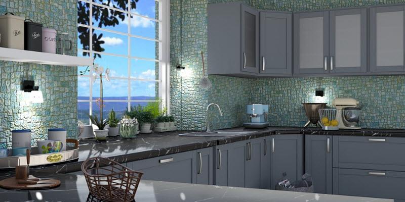 Фартух для кухні: плитка, кабанчик, цегла, смальта