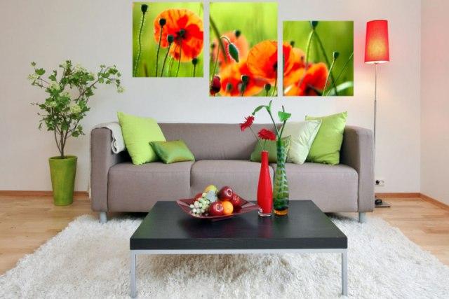 Модульні картини в інтер'єрі будинку