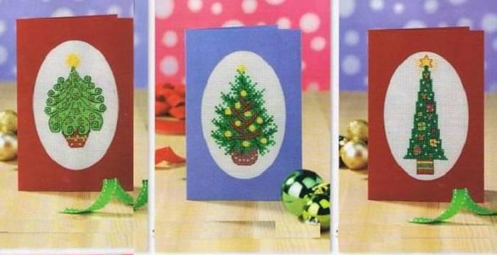 Новорічні та різдвяні вишивки хрестиком. 100 Схем
