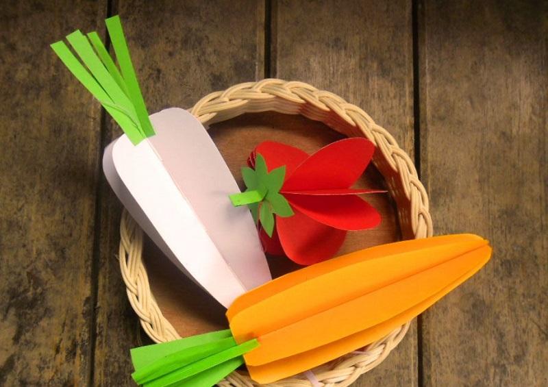 Об'ємні вироби з паперу: овочі, фрукти