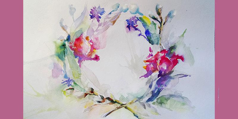 Композиція з квітами та вербою аквареллю по мокрому