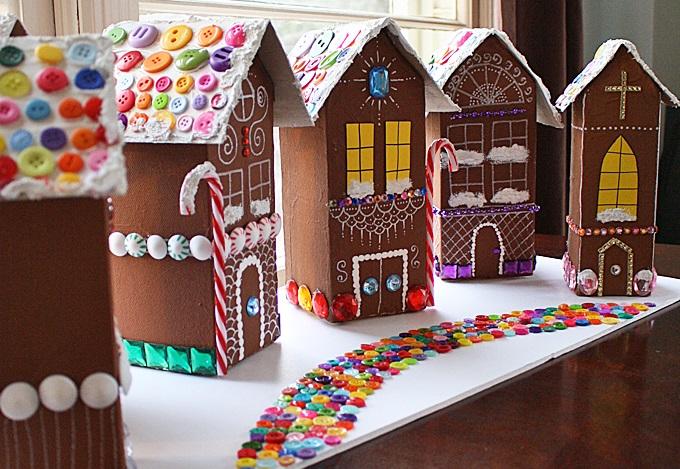 Різдвяні картонні будиночки. Креслення та ідеї