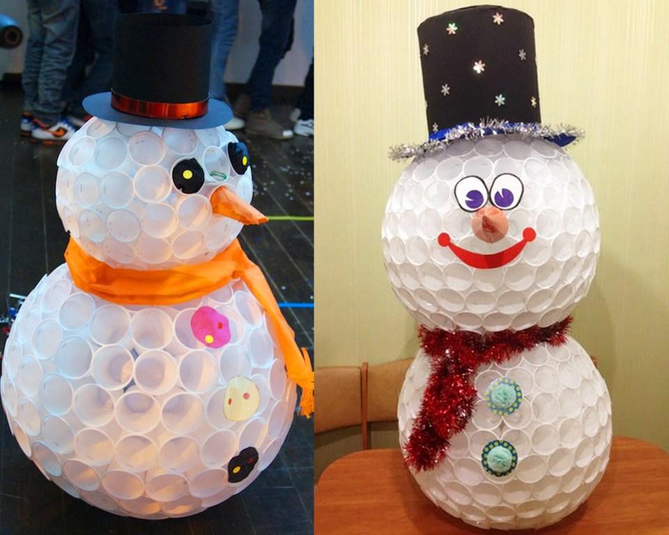 Сніговик з пластикових стаканчиків