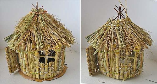 Как сделать крышу из соломы поделка