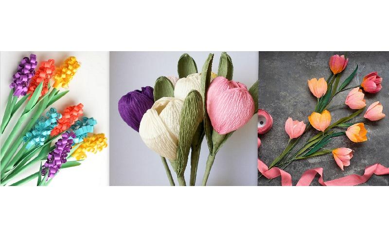 Весняні квіти з гофрованого паперу