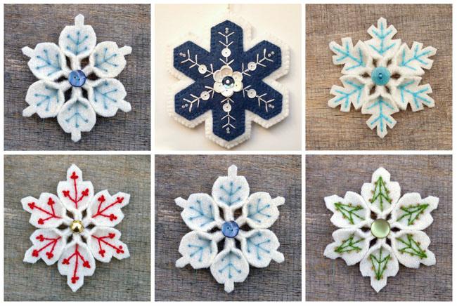 Сніжинки з фетру своїми руками